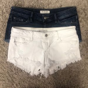 Two Pair Guess Cutoff Denim Shorts